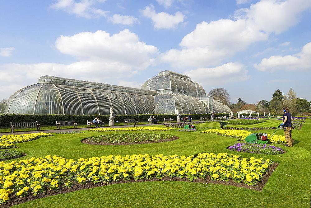 Palm House in spring, Royal Botanic Gardens, Kew, UNESCO World Heritage Site, London, England, United Kingdom, Europe