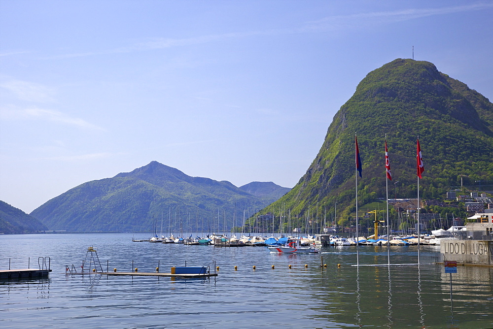 View of Monte San Salvador from the Lido, Lugano, Lake Lugano, Ticino, Switzerland, Europe
