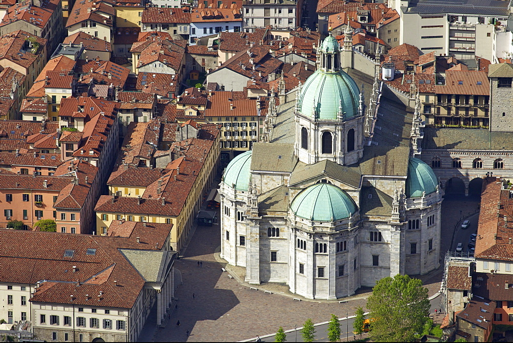 Aerial view of Cathedral in Como town centre, Lake Como, Lombardy, Italian Lakes, Italy, Europe