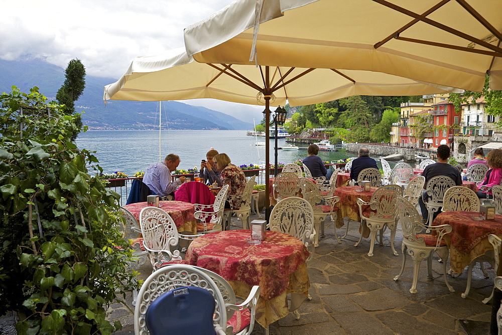 Lakeside view of cafe in the medieval village of Varenna, Lake Como, Lombardy, Italian Lakes, Italy, Europe