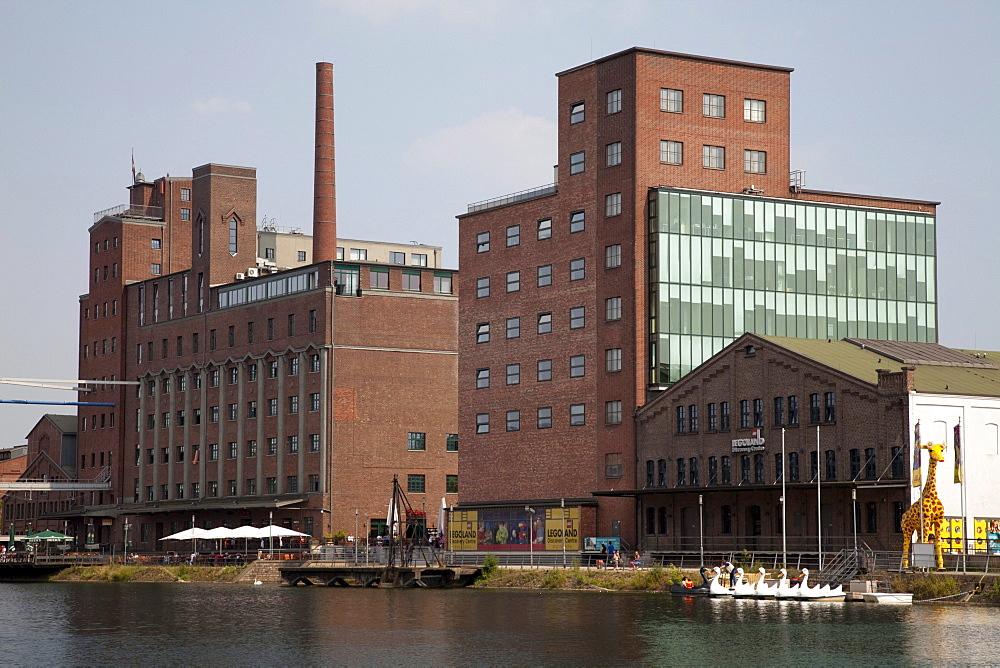 Werhahnmuehle, restaurant, office and museum building, Legoland Discovery Centre, inner harbour, Duisburg, Ruhrgebiet region, North Rhine-Westphalia, Germany, Europe