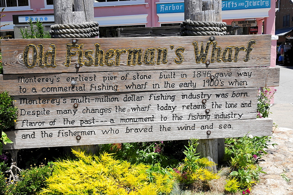 Old Fisherman's Wharf, sign in the harbour, Monterey, California, USA, North America