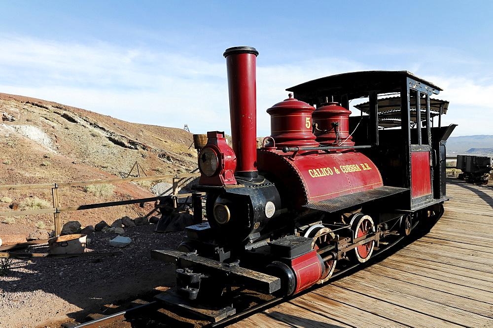 Locomotive, ghost town Calico, Yermo, California, USA, North America