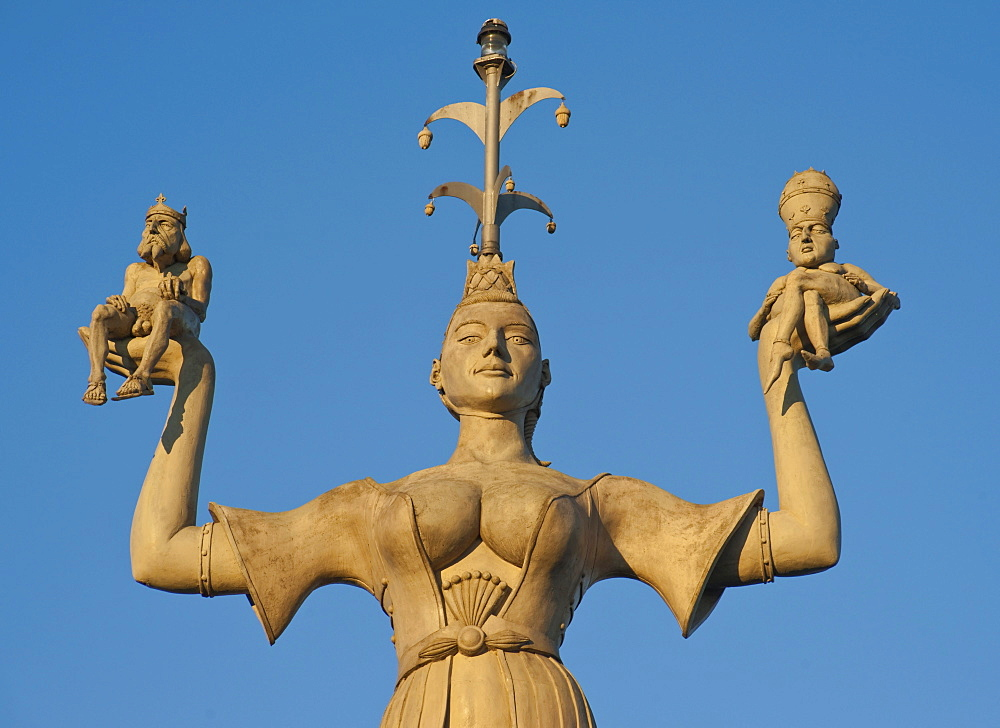 The Imperia statue, shows a woman holding the emperor and the pope on her hands, symbolic display of the immoral behavior of the rulers at the Council of Constance in the Middle Ages, statue at the harbour of Constance, Baden-Wuerttemberg, Germany, Europe