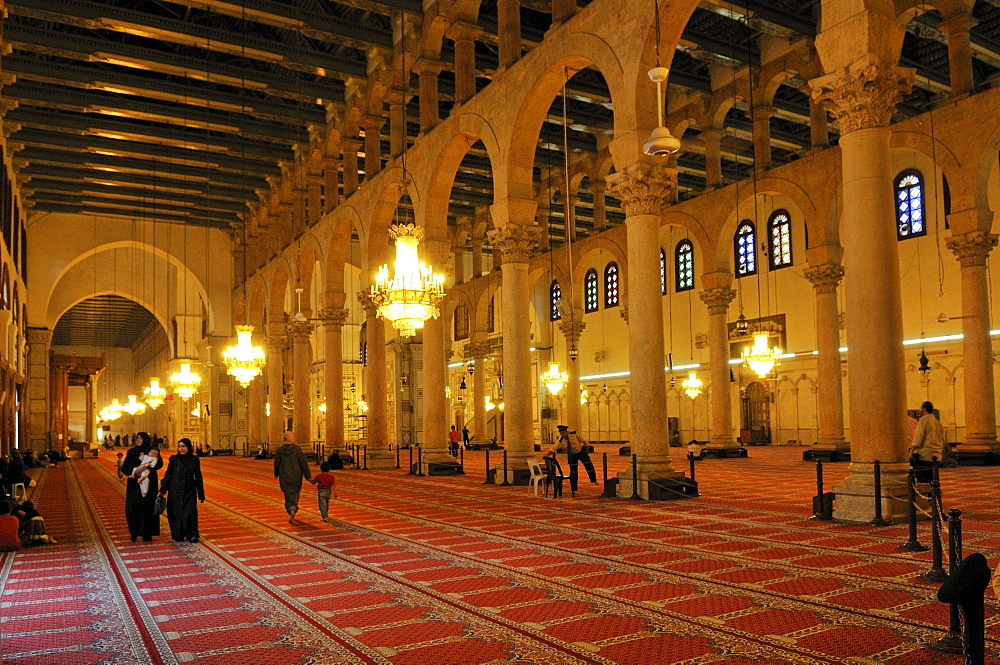 Interior of the Umayyad mosque at Damascus, Unesco World Heritage Site, Syria, Middle East, West Asia