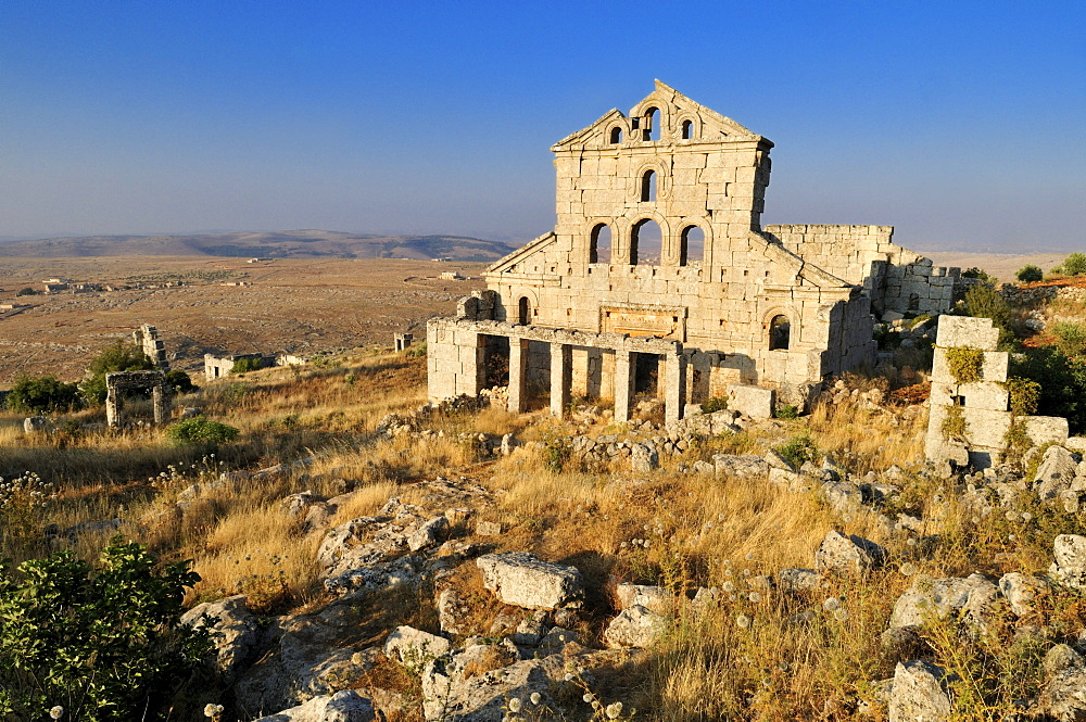 Byzantine church ruin at the archeological site of Baqirha, Dead Cities, Syria, Middle East, West Asia