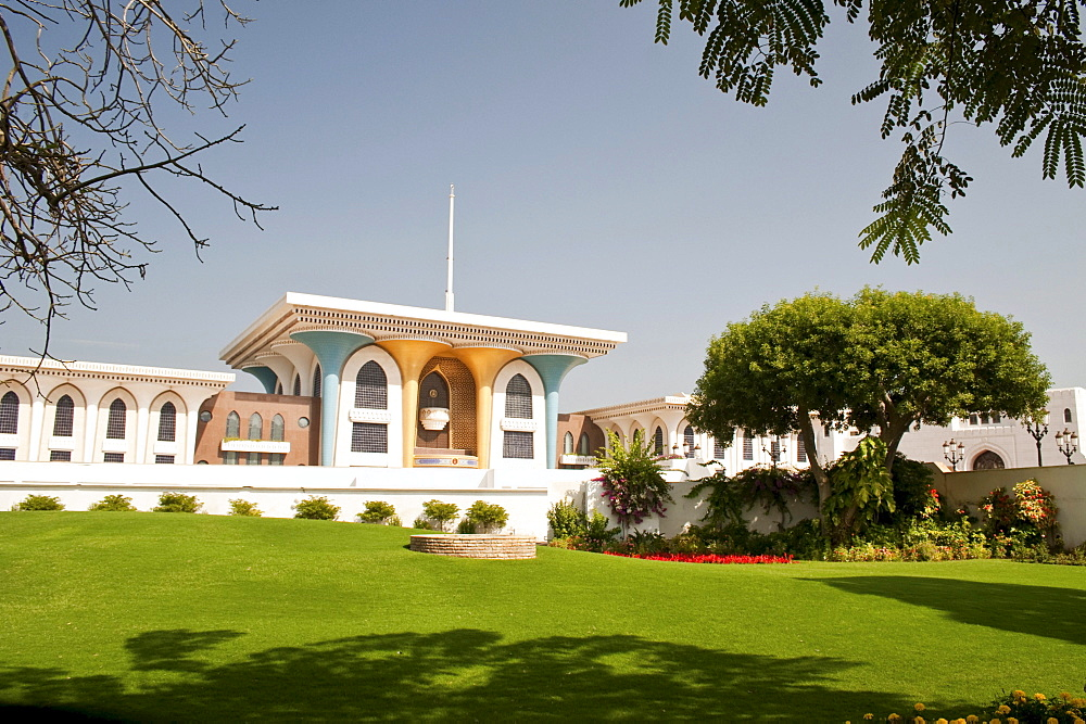 Main building of the Al Alam Palace, as seen from the side across the garden, in Muscat, Oman, Middle East