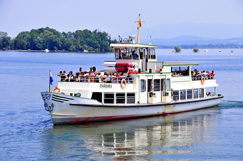 Charter ship, Barbara, from the Chiemsee Shipping Company on Fraueninsel, Women's Island, Lake Chiemsee, Chiemgau, Bavaria, Germany, Europe