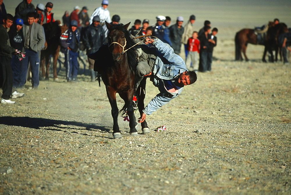 Tenge-il game, horseman catching flowers on the ground while galloping, Golden Eagle Festival, Bayan Oelgii, Altai Mountains, Mongolia, Asia