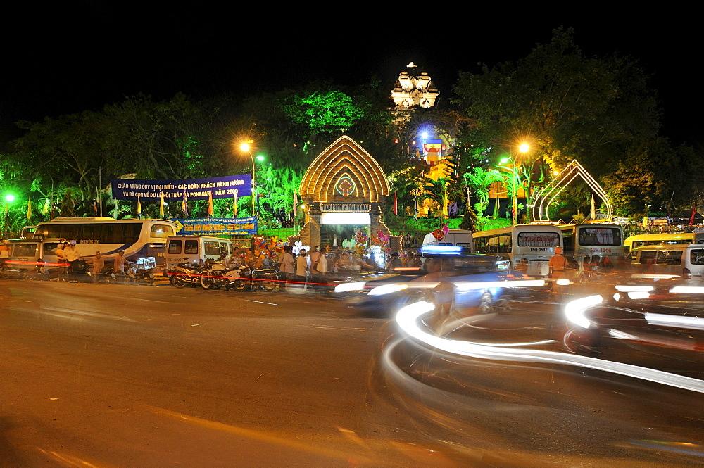 Night shot, festival, temple of Po Nagar, Vietnam, Southeast Asia