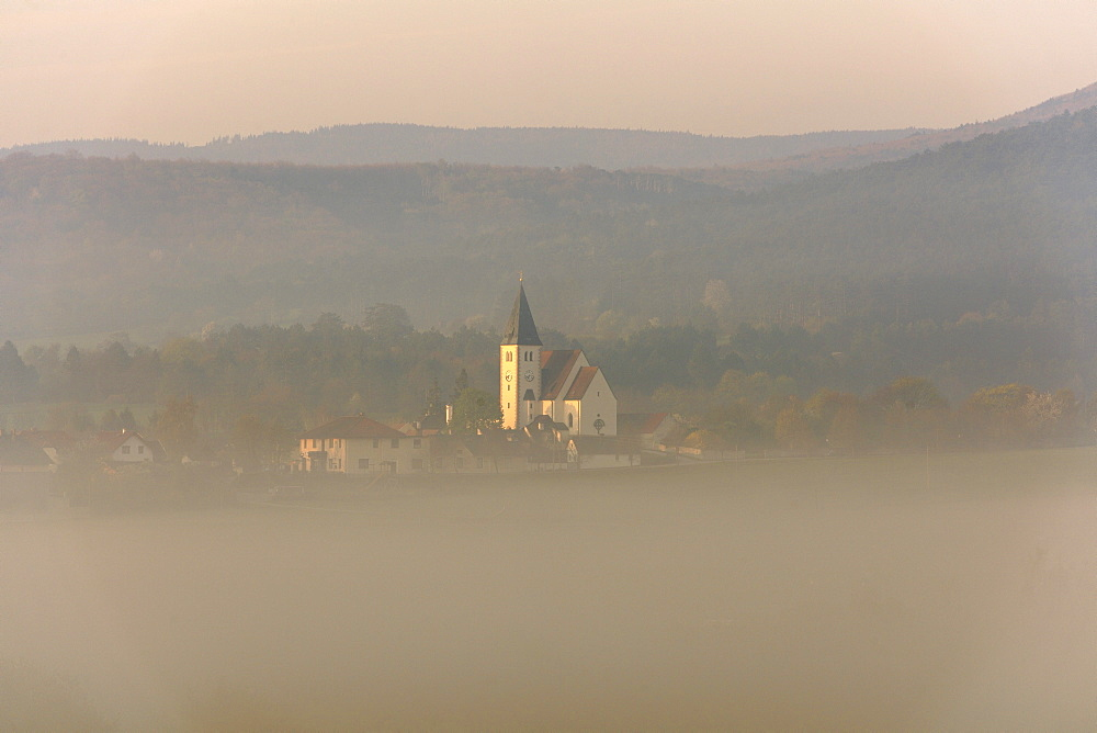 Grillenberg mountain in the morning mist, Berndorf, Triestingtal valley, Lower Austria, Austria, Europe