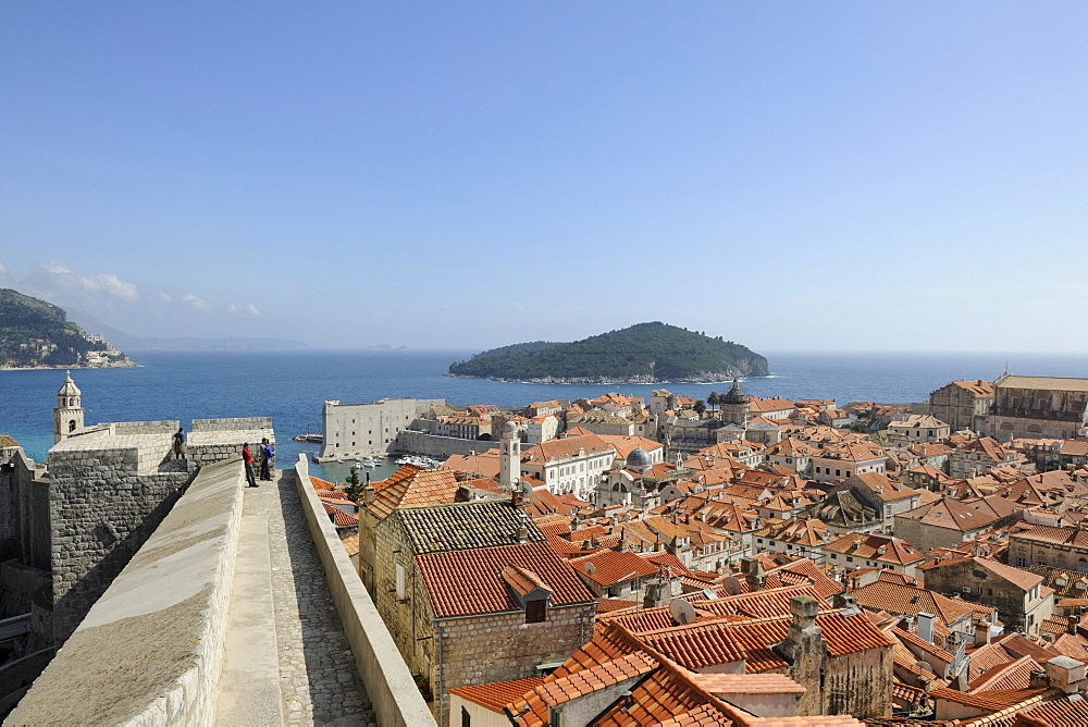 Overlooking the historic town from the fortress wall, Dubrovnik, Ragusa, Croatia, Europe