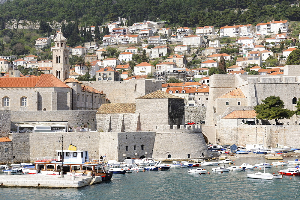 View from the ramparts on the old harbour, Dubrovnik, Ragusa, Croatia, Europe