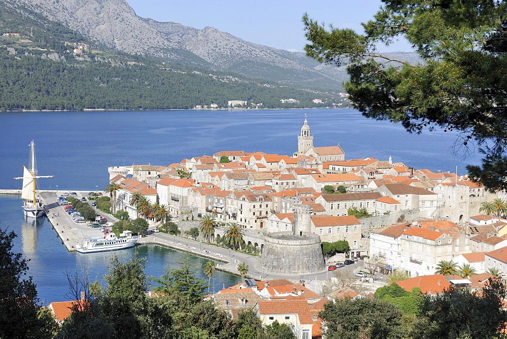 Overlooking the historic town of Korcula, Croatia, Europe