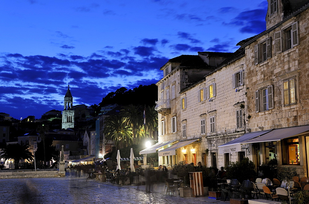 Town square with Sv. Stjepan cathedral, town of Hvar, Hvar island, Croatia, Europe