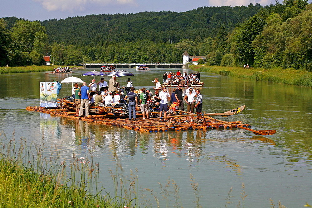 Raft ride on the Isar river in Wolfratshausen, Bavaria, Germany, Europe