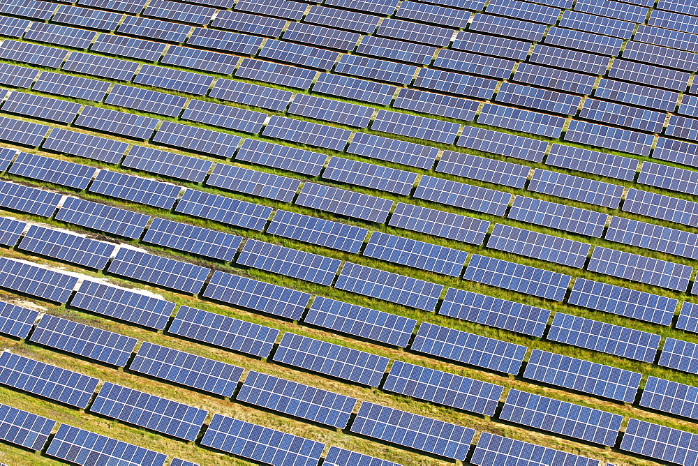 Aerial view, photovoltaic system at Antdorf, Bavaria, Germany, Europe