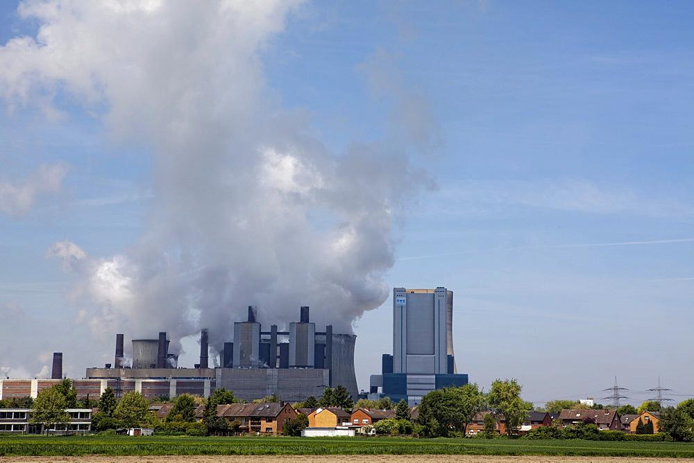 Niederaussem power plant, a lignite-powered base load power station operated by RWE PowerAG, in Bergheim-Niederaussem, Rhein-Erft-Kreis district, North Rhine-Westphalia, Germany, Europe