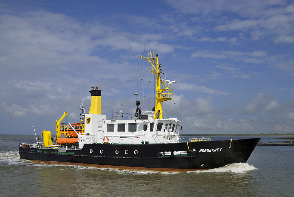 Norderney sounding vessel in motion in front of Norddeich, special ship for surveying the navigable water in the Wadden Sea, Lower Saxony, Germany, Europe
