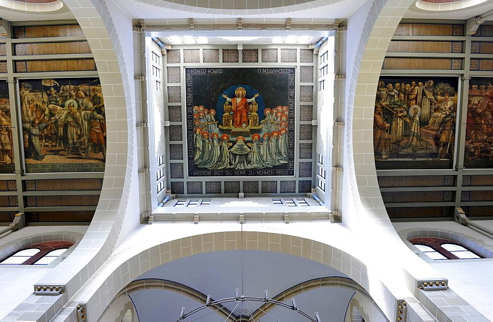 Interior, ceiling painting, nave, Catholic Dreifaltigkeitskirche church, Offenburg, Baden-Wuerttemberg, Germany, Europe