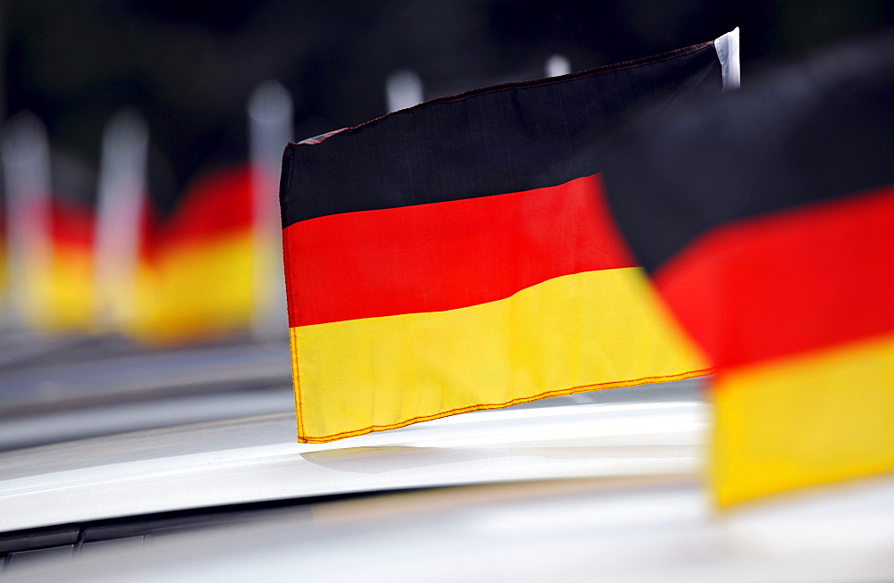 German national flags on cars during the FIFA World Cup 2010