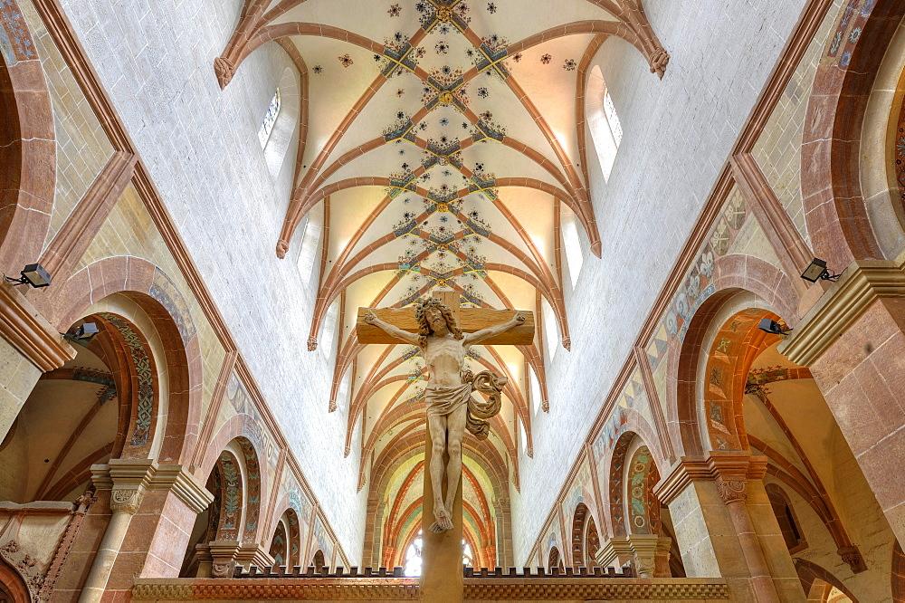 Interior, crucifix in the nave of the Lay Church, rib vaulting, Maulbronn Monastery, Cistercian Abbey, UNESCO World Heritage Site, Kraichgau, Baden-Wuerttemberg, Germany, Europe