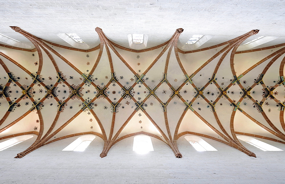 Interior, ceiling vault in the nave of the Lay Church, rib vaulting, Maulbronn Monastery, Cistercian Abbey, UNESCO World Heritage Site, Kraichgau, Baden-Wuerttemberg, Germany, Europe