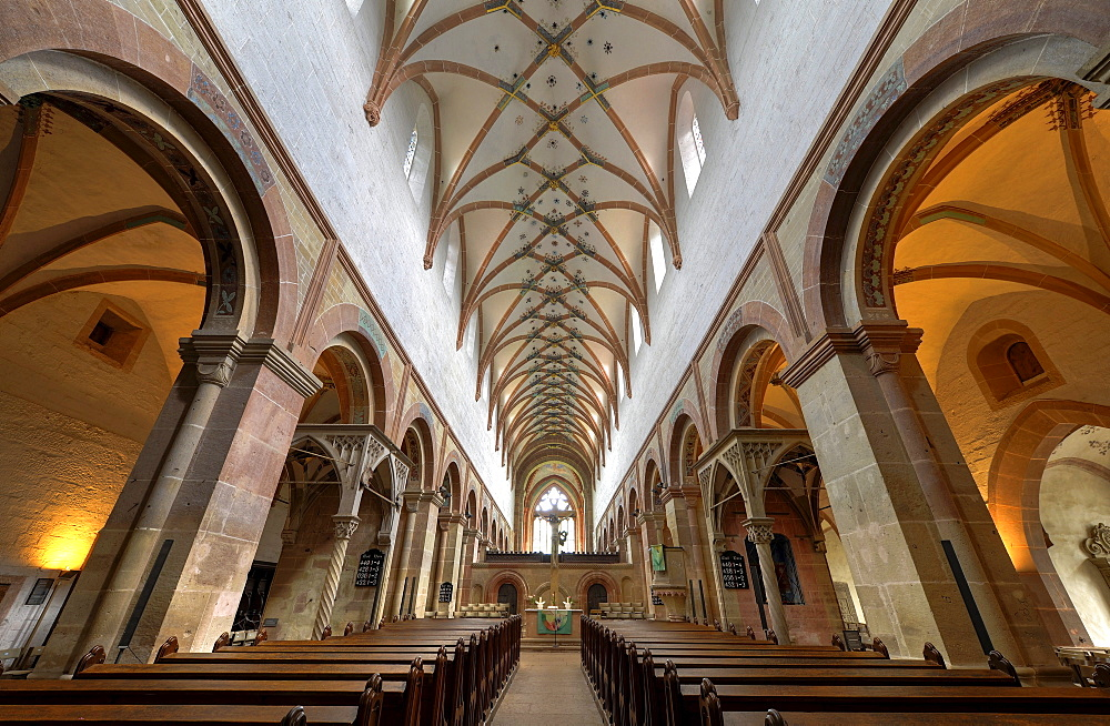 Interior, nave of the Lay Church with baldachins, crucifix, rib vaulting, Maulbronn Monastery, Cistercian Abbey, UNESCO World Heritage Site, Kraichgau, Baden-Wuerttemberg, Germany, Europe