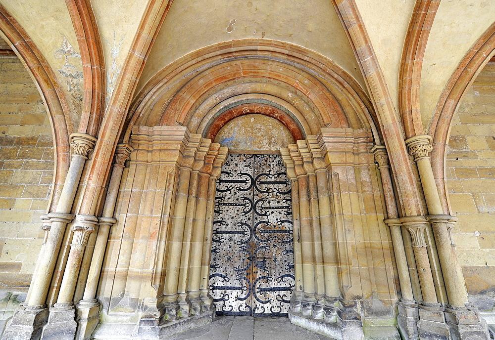 Portal, Monastery Church, Paradise, covered entrance, Maulbronn Monastery, Cistercian Abbey, UNESCO World Heritage Site, Kraichgau, Baden-Wuerttemberg, Germany, Europe