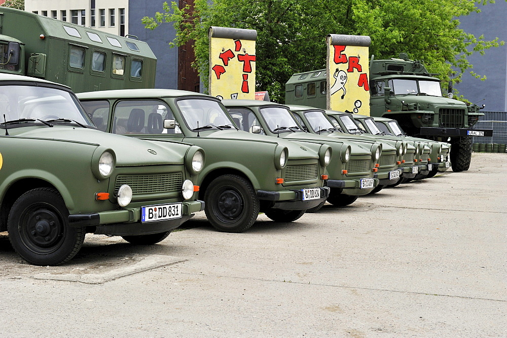 Old GDR Trabant cars modelled after army vehicles available for city tours, Berlin, Germany, Europe