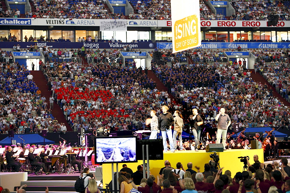 The a-capella group Wise Guys performing at !Sing-Day of Song, concert as the finale with over 65, 000 people as part of the Capital of Culture Ruhr2010, Veltins Arena AufSchalke, Gelsenkirchen, North Rhine-Westphalia, Germany, Europe