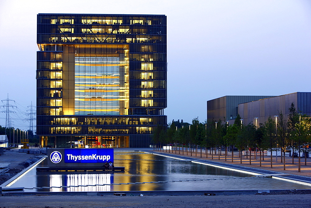 ThyssenKrupp Group Headquarters, Q1 building, new construction in the west of Essen, Kruppguertel, Krupp belt district, North Rhine-Westphalia, Germany, Europe
