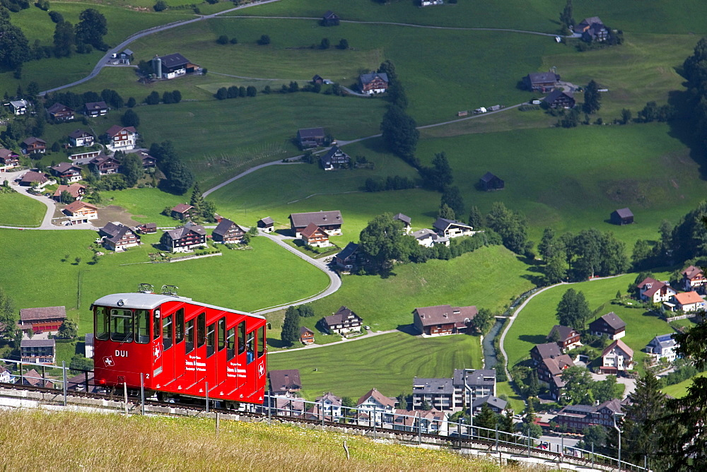 Funicular railway over Toggenburg landscape, Unterwasser, Canton St Gallen, Switzerland, Europe