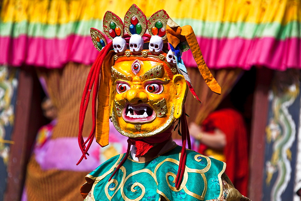 Masqued performer at the yearly Trashigang Tsechu, Trashigang, Bhutan, South Asia