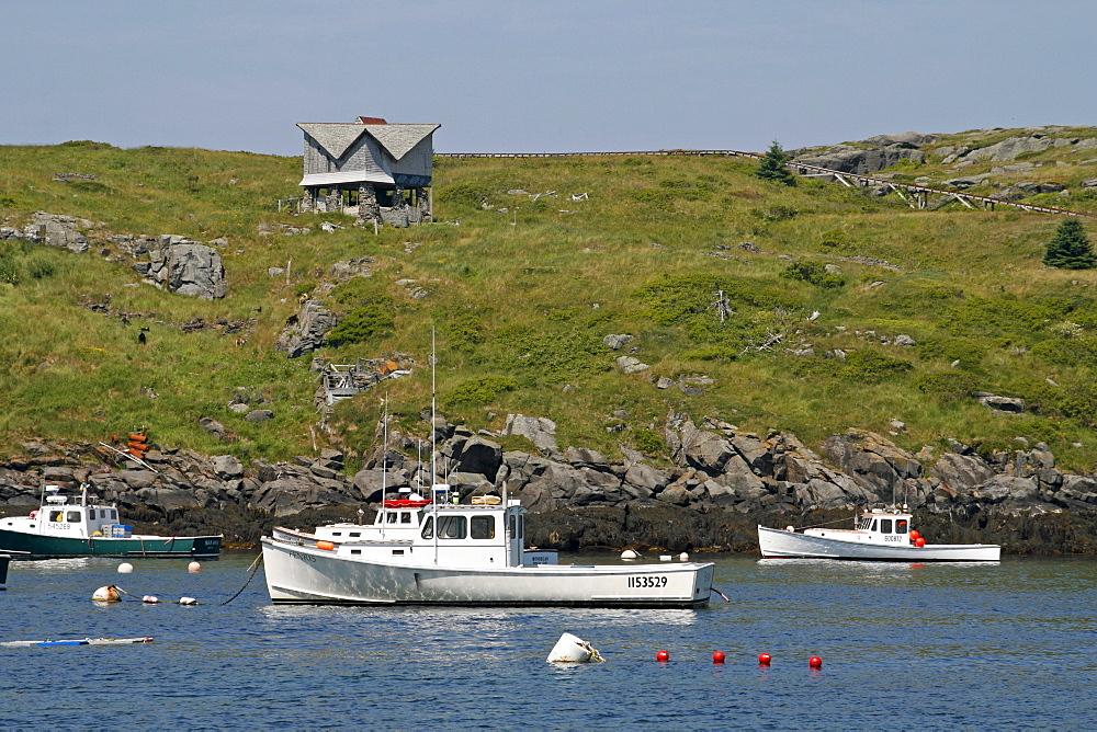 Lobster boats mooring, Manana Island, Maine coast, New England, USA