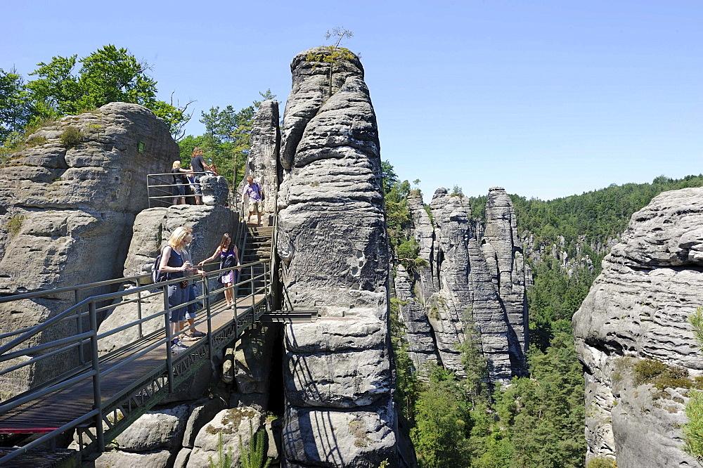 Bastei rock formation, Elbsandsteingebirge Elbe Sandstone Mountains, Saxon Switzerland, Saxony, Germany, Europe