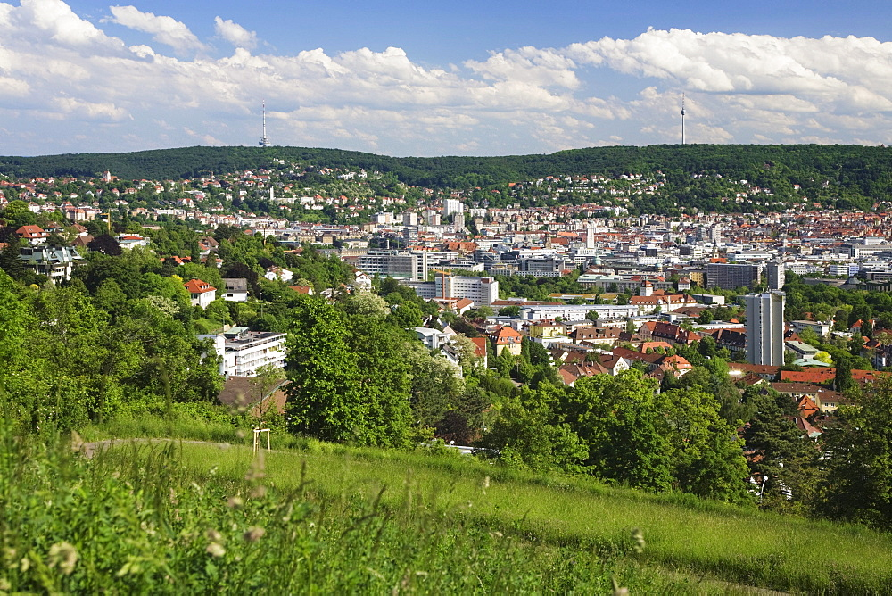 View from the Bismarck Tower over Stuttgart, Baden-Wuerttemberg, Germany, Europe