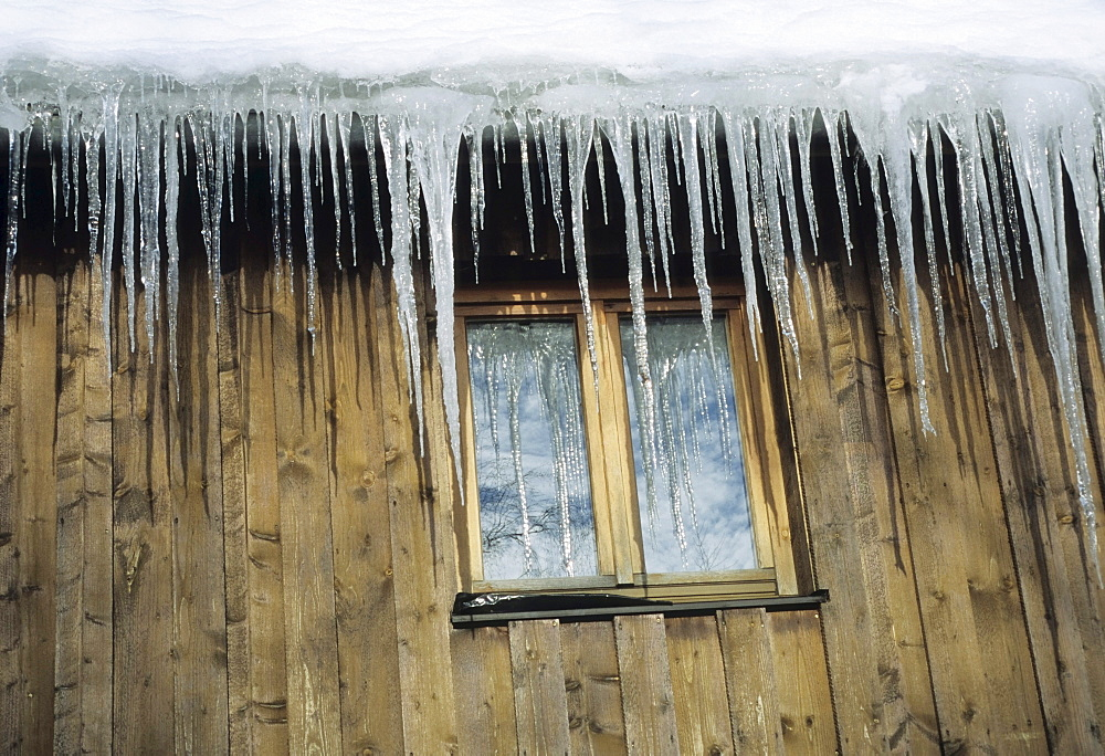 Icicles on a window, Black Forest, Baden-Wuerttemberg, Germany, Europe