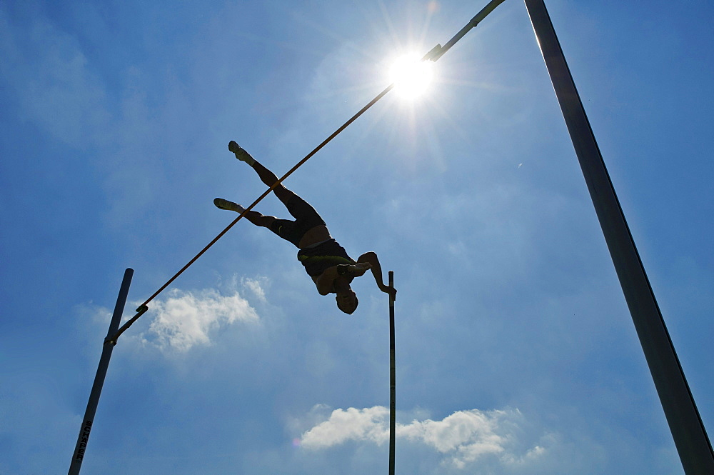 Pole-vaulter at the DAK Leichtathletik Gala athletics event, Lohrheidestadion stadium, Bochum-Wattenscheid, North Rhine-Westphalia, Germany, Europe