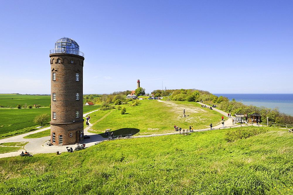 Former Marinepeilturm, beacon tower, built with bricks in 1927 and used as a radio beacon, Cape Arkona, Ruegen Island, Mecklenburg-Western Pomerania, Germany, Europa
