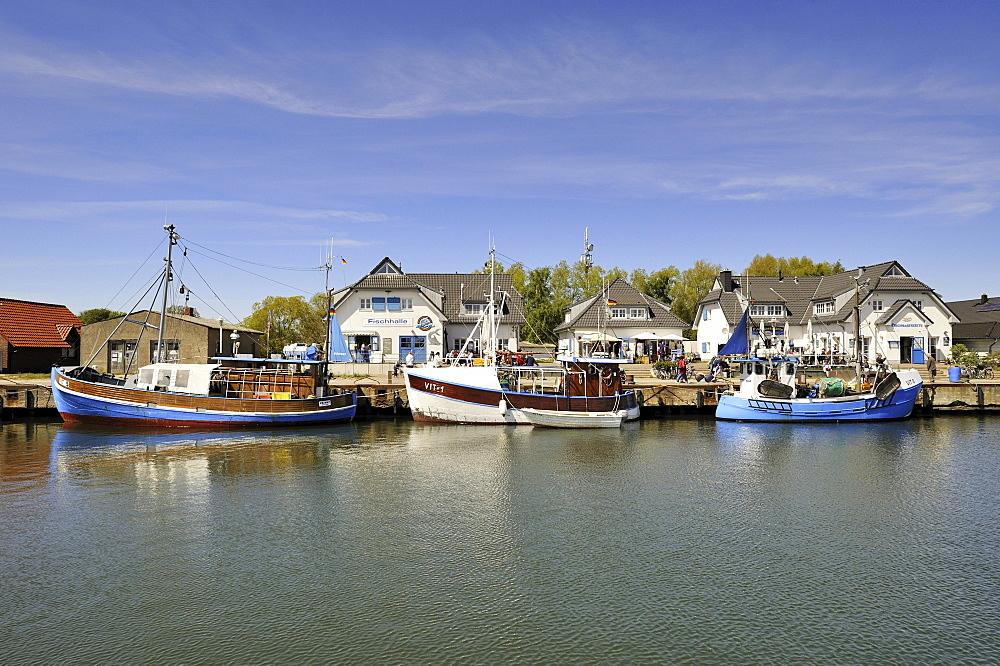 Fishing harbour, Vitte, Hiddensee Island, district of Ruegen, Mecklenburg-Western Pomerania, Germany, Europa