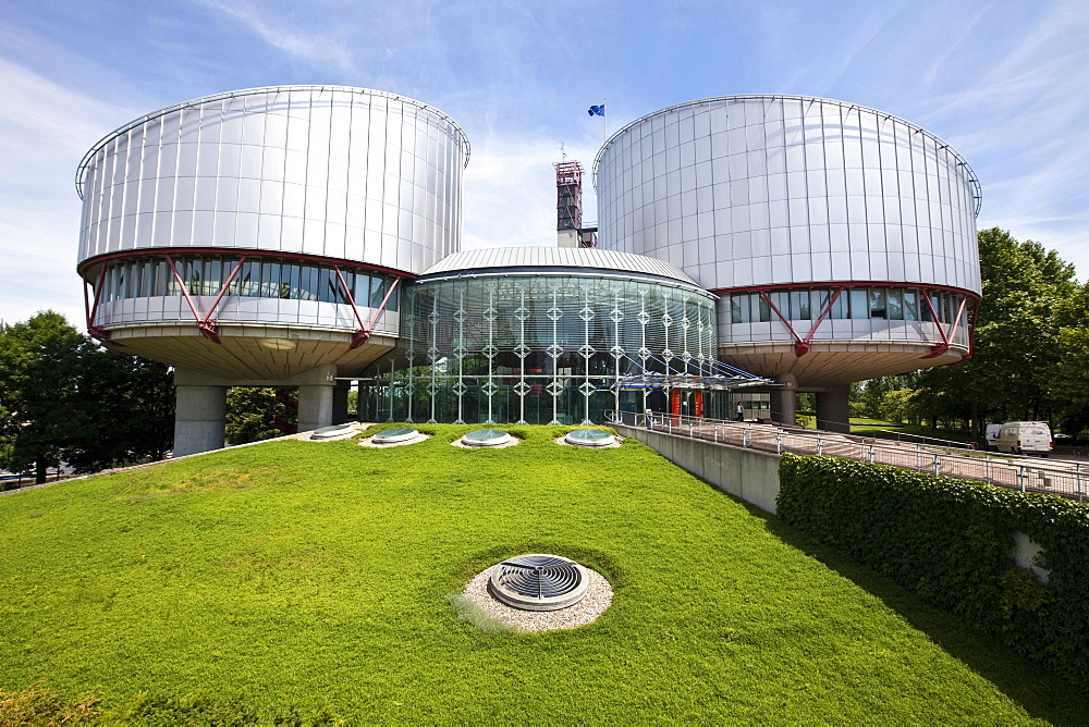 View of the European Court of Human Rights with its two cylindrical buildings of the courtrooms, Strasbourg, France, Europe