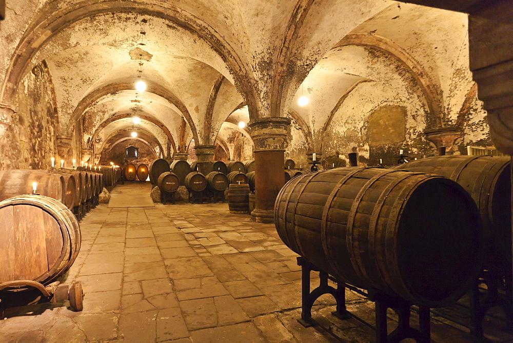 Wine cellar at the Kloster Eberbach Abbey, Eltville am Rhein, Rheingau, Hesse, Germany, Europe