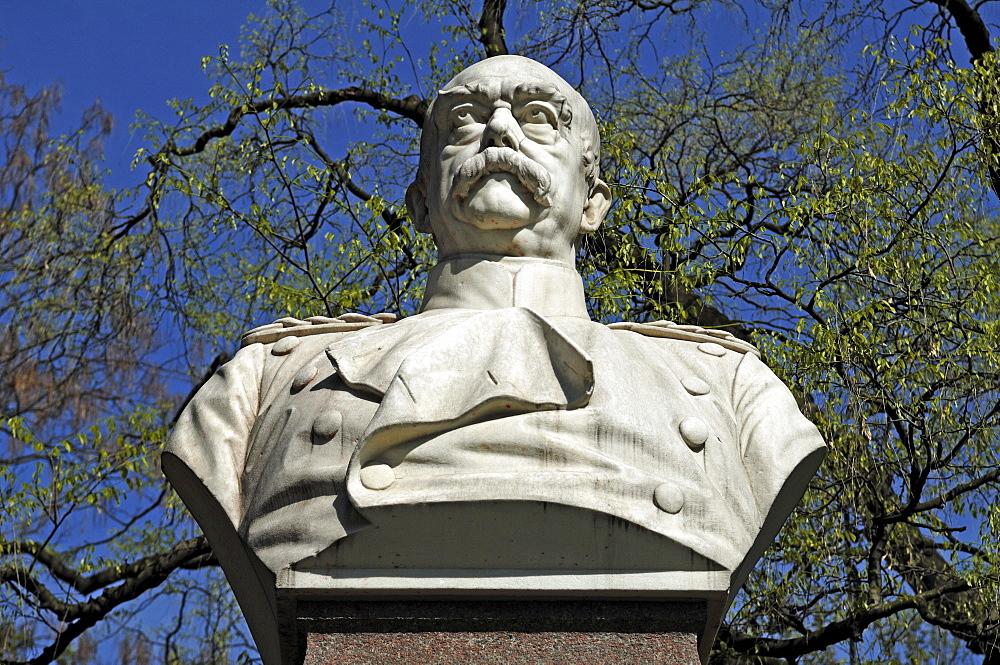 Marble bust of Otto von Bismarck, 1815-1898, Bismarckplatz, Heidelberg, Baden-Wuerttemberg, Germany, Europe