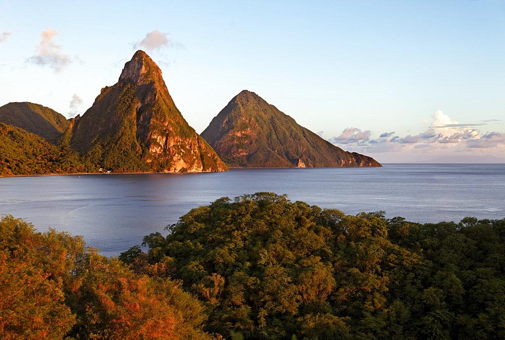 Piton Mountains, bay, rainforest, clouds, evening, romantic, UNESCO World Heritage Site, Soufriere, Saint Lucia, LCA, Windward Islands, Lesser Antilles, Caribbean, Caribbean Sea