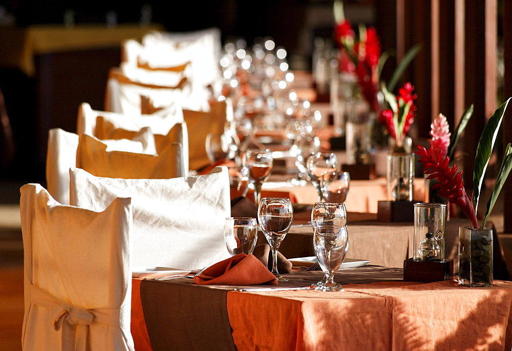 Festively laid table, chairs, Luxury Hotel Anse Chastanet Resort, LCA, St. Lucia, Saint Lucia, Island Windward Islands, Lesser Antilles, Caribbean, Caribbean Sea