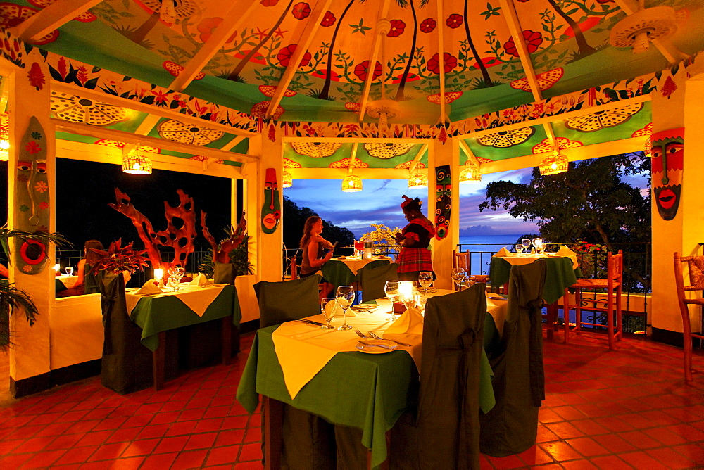 Restaurant at the Luxury Hotel Anse Chastanet Resort, LCA, St. Lucia, Saint Lucia, Island Windward Islands, Lesser Antilles, Caribbean, Caribbean Sea
