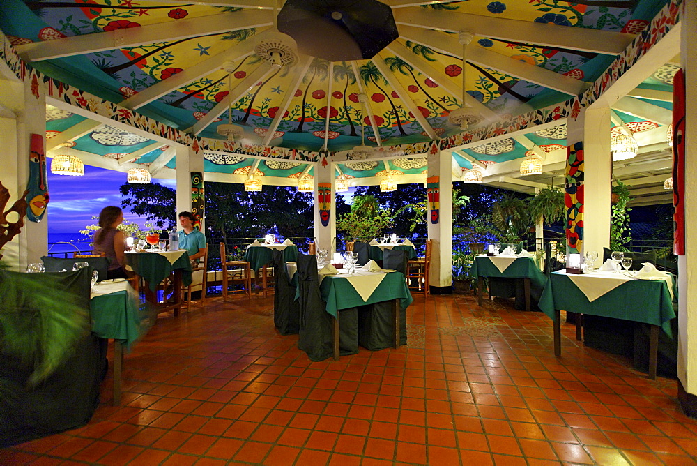 Restaurant at Luxury Hotel Anse Chastanet Resort, ceiling painting, LCA, St. Lucia, Saint Lucia, Island Windward Islands, Lesser Antilles, Caribbean, Caribbean Sea