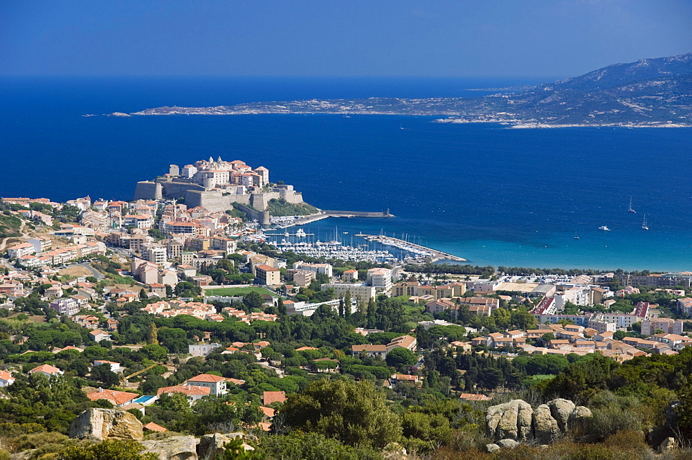 Calvi panorama, Gulf of Calvi, Balagne, Corsica, France, Europe