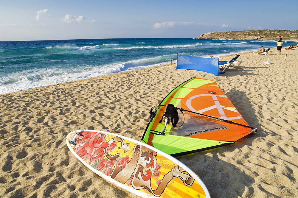 Surfboard on the beach, Algajola, Balagne, Corsica, France, Europe